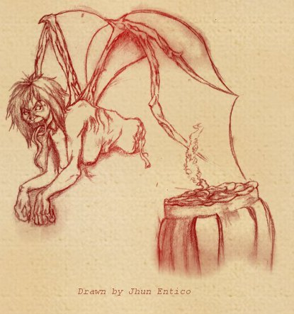 Manananggal, a man-eating witch. Philippines.